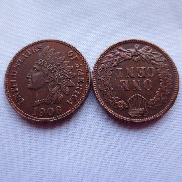 1 Pcs 1906 ONE CENT - INDIAN HEAD CENTS Copy Coins