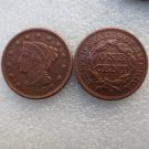 1 Pcs 1840 Braided Hair Large One Cent 100% Copper Manufacturing Old Copy Coins