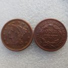 1 Pcs 1844 Braided Hair Large One Cent 100% Copper Manufacturing Old Copy Coins
