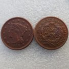 1 Pcs 1845 Braided Hair Large One Cent 100% Copper Manufacturing Old Copy Coins
