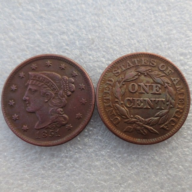 1 Pcs 1851 Braided Hair Large One Cent 100% Copper Manufacturing Old Copy Coins