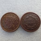 1 Pcs 1850 Braided Hair Large One Cent 100% Copper Manufacturing Old Copy Coins