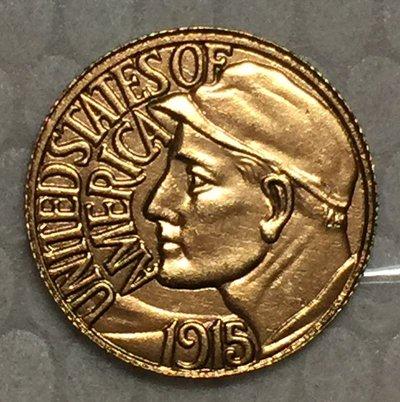 1 Pcs 24-K Gold-Plated USA 1915 1 Dollars Francs coin copy