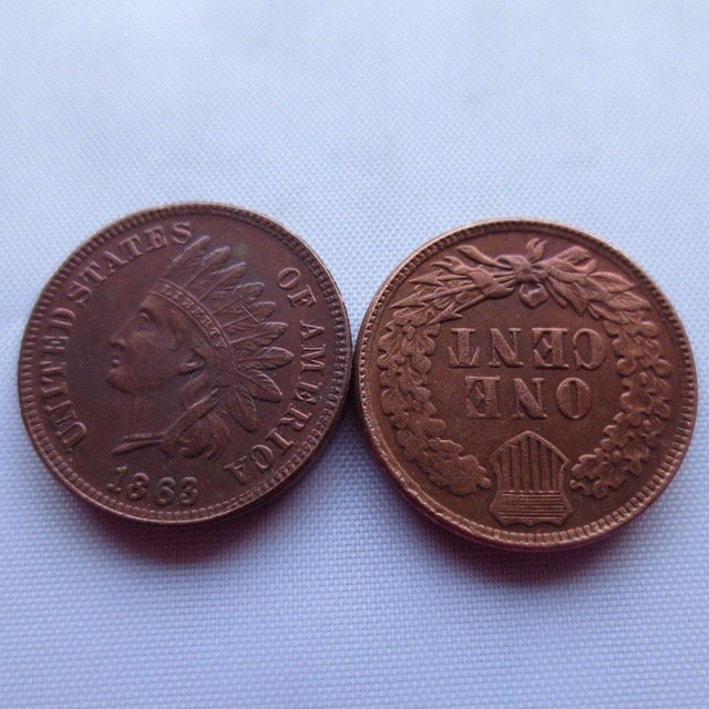 1 Pcs 1863 ONE CENT - INDIAN HEAD CENTS copy coin