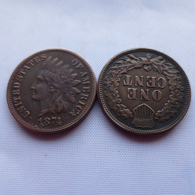 1 Pcs 1874 ONE CENT - INDIAN HEAD CENTS copy coin