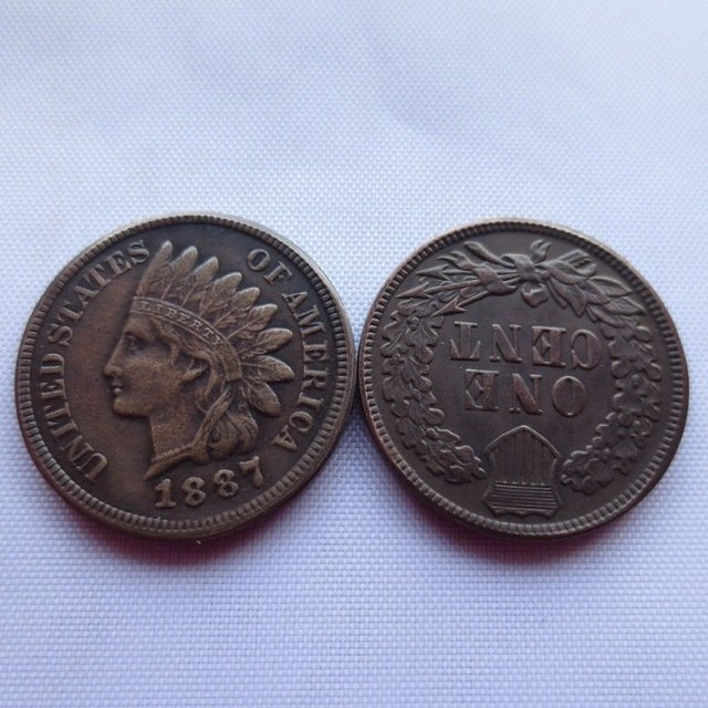 1 Pcs 1887 ONE CENT - INDIAN HEAD CENTS copy coin