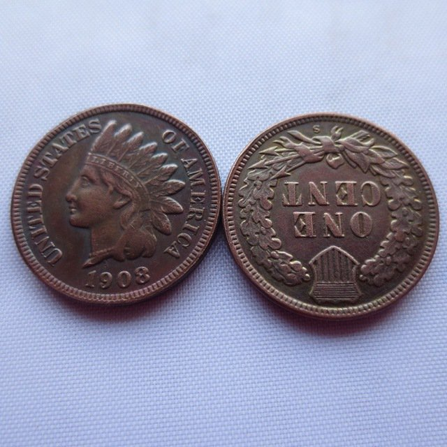 1 Pcs 1908S ONE CENT - INDIAN HEAD CENTS copy coin