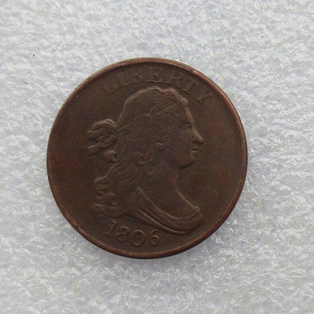 1 Pcs 1806 DRAPED BUST HALF CENTS Copy Coin Copper Manufacture