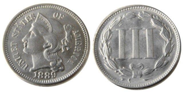 1 Pcs United States 1889 Three Cent Nickel Copy Coins