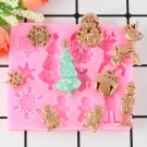 1 Pcs Christmas Series Tree Deer Snowflake Fondant Silicone Mold Cake Decorating Tools Moulds