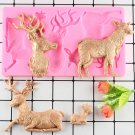 1 Pcs Christmas Deer Shaped Fondant Silicone Mold Sugar Craft Cake Decorating Moulds