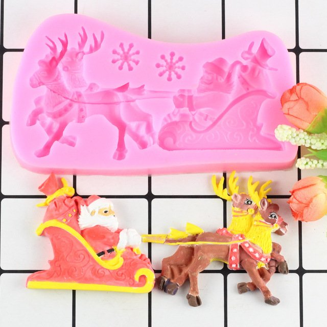 1 Pcs Christmas Sleigh Deer Snowflake Santa Claus Silicone Cake Mould Fondant Mold