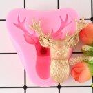 1 Pcs Christmas Deer Head Silicone Molds Christmas Paty Fondant Cake Decorating Mold
