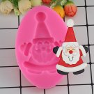 1 Pcs Santa Claus Silicone Fondant Mold Christmas Cake Decorating Candy Molds