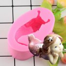 1 Pcs 3D Mermaid Shape Silicone Mold Fondant Cupcake Cake Decorating Baking Molds