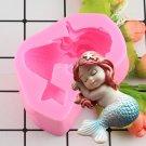 1 Pcs Mermaid Shape Silicone Mold Fondant Chocolate Gumpaste Cake Decorating Molds
