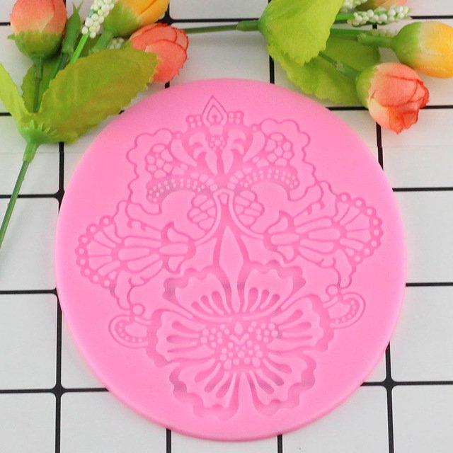 1 Pcs Flower Pattern Silicone Mat Fondant Cake Lace Embossed Cake Mold Sugar Lace Mat Cake Moulds