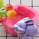 1 Pcs 3D Easter Bunny Soap Silicone Molds Rabbit Candle Resin Clay Mold Chocolate Candy Mould