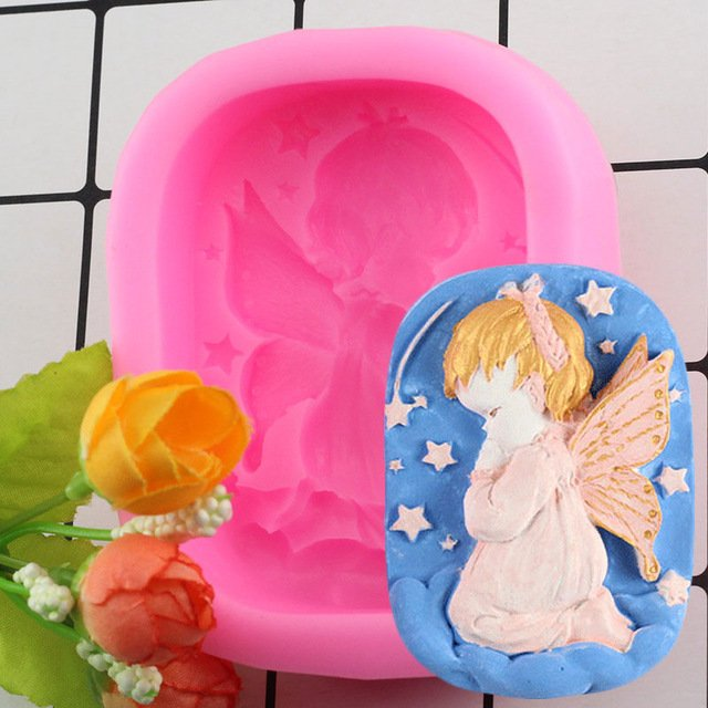 1 Pcs Hand Made Soap Mold Mould Silicone Little Angel Shape Crafts Soap Making Moulds