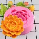 1 Pcs 3D Beautiful Lotus Flower Silicone Soap Moulds For Fondant Cake Decorating Moulds