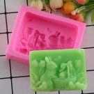 1 Pcs 3D Rabbit Soap Mold Animal Silicone Cake Molds Resin Clay Candle Fondant Chocolate Mould