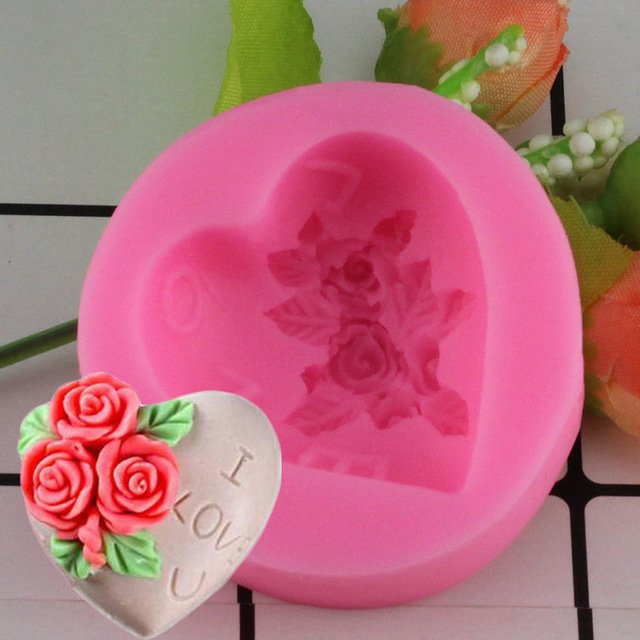 1 Pcs 3D Silicone Soap Mold Heart Love Rose Flower Chocolate Mould Candle Polymer Mould