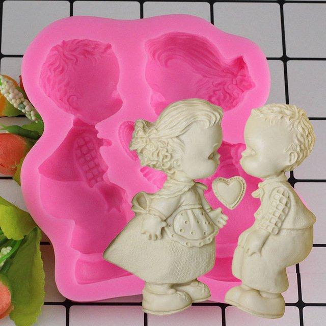 1 Pcs 3D Boy Girl Wedding Fondant Cake Decorating Tools Soap Candle Silicone Mold