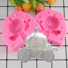 1 Pcs 3D Pumpkin Carriage Candle Silicone Mold Wedding Fondant Cake Decorating Mould