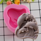 1 Pcs Dolphin Soap Silicone Fondant Molds Heart Handmade Fimo Clay Candle Mould