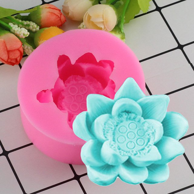 1 Pcs 3D Beautiful Lotus Flowers silicone Soap molds Wedding Birthday Cake Decorating Mould