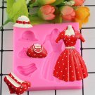 1 Pcs 3D Clothes Hat Skirt DIY Silicone Mold Fondant Kitchen Cake Decorating Mold Chocolate Mould