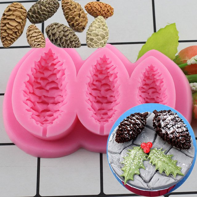 1 Pcs Sugarcraft Pine Cones Silicone Mold Fondant Mold Pine Nuts Christmas Cake Decorating Mould