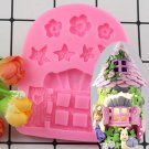 1 Pcs Vintage Fairy Garden Home Door Window Flower Silicone Chocolate Fondant Molds Mould