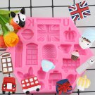 1 Pcs British Style Car Flag Big Ben Cake Decorating Silicone Molds 3D Window Crown Candy Mould