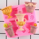1 Pcs Flower Vase 3D Candle Mold Silicone Mold Resin Clay Candle Molds Cupcake Fondant Mould