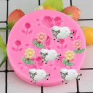 1 Pcs Food Grade Fondant Cake Silicone Mold Sheep Flowers Shape Polymer Clay Chocolate Mould
