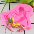 1 Pcs 3D Cartoon Mermaid Girl Fondant Silicone Decoration Mold DIY Cake Baking Mould