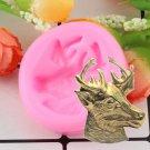 1 Pcs 3D Deer Head Silicone Molds Christmas Deer Fondant Cake Soap Mold Gumpaste Mould