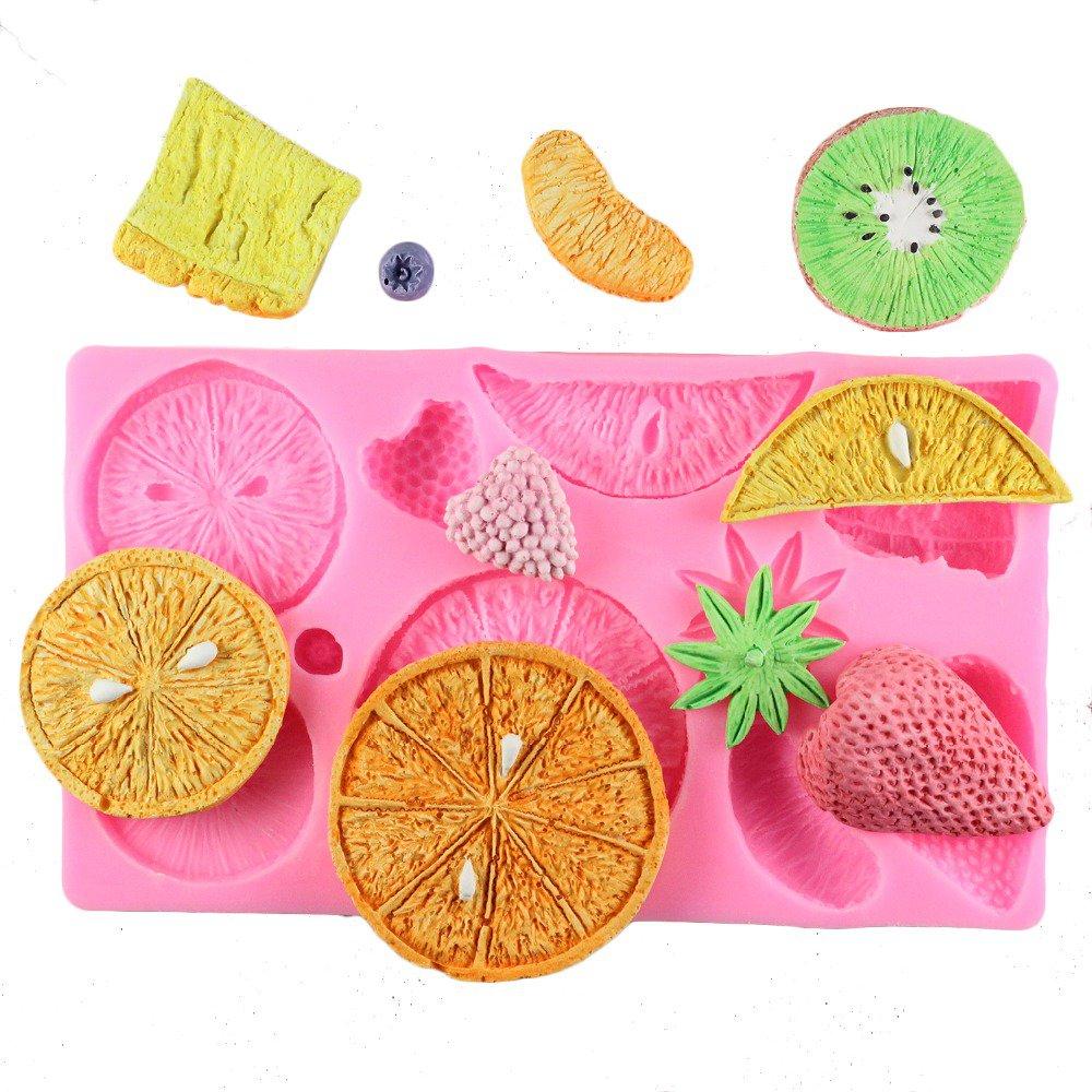 1 Pcs Fruit Strawberry Orange Shape Chocolate Party Cake Kiwi Fondant Silicone Mould