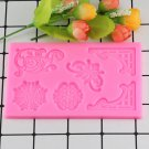 1 Pcs DIY Sugar Craft Cake Vintage Relief Border Silicone Mold Fondant Chocolate Moulds