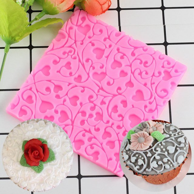 1 Pcs Heart Flower Vine Silicone Lace Mat Wedding Cupcake Topper Decorating Fondant Moulds