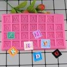 1 Pcs 3D Square Letters Alphabet Silicone Molds Fondant Cake Decorating Tools Cake Moulds