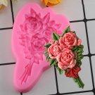1 Pcs Rose Flower Bouquet Silicone Molds Wedding Cake Topper Fondant Cake Moulds