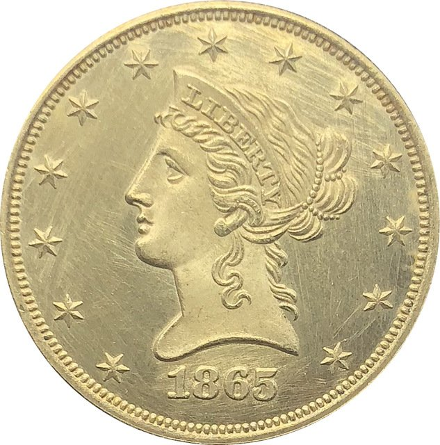 1 Pcs US 1865-S Liberty Ten Dollars Head Eagle Without Motto Gold Copy Coins