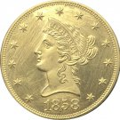 1 Pcs US 1858-S Liberty Ten Dollars Head Eagle Without Motto Gold Copy Coins