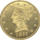 1 Pcs US 1851 Liberty Ten Dollars Head Eagle Without Motto Gold Copy Coins
