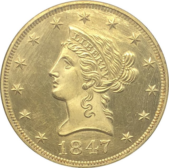 1 Pcs US 1847 Liberty Ten Dollars Head Eagle Without Motto Gold Copy Coins
