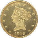 1 Pcs US 1849 Liberty Ten Dollars Head Eagle Without Motto Gold Copy Coins