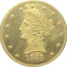 1 Pcs US 1845 Liberty Ten Dollars Head Eagle Without Motto Gold Copy Coins
