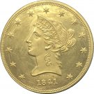 1 Pcs US 1841 Liberty Ten Dollars Head Eagle Without Motto Gold Copy Coins